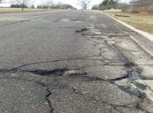 Potholes on street in Michigan