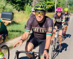 Bryan Waldman on bike wearing Bike Law gear